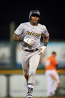 Trenton Thunder designated hitter Jhalan Jackson (25) rounds the base during a game against the Richmond Flying Squirrels on May 11, 2018 at The Diamond in Richmond, Virginia.  Richmond defeated Trenton 6-1.  (Mike Janes/Four Seam Images)