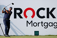 3rd July 2021, Detroit, MI, USA;  Phil Mickelson hits his tee shot on the 7th hole on July 3, 2021 during the Rocket Mortgage Classic at the Detroit Golf Club in Detroit, Michigan.