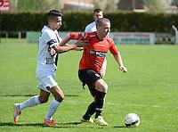 Winkel Sport - SK Deinze  : Mathieu Dejonckheere (r) aan de bal voor de opzittende Karim Ben Liou (links) <br /> foto VDB / BART VANDENBROUCKE