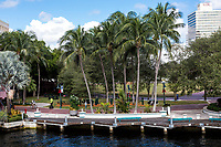 Ft. Lauderdale, Florida.  New River and H. Wayne Huizenga Plaza, formerly Bubier Park.