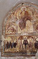 Europe/France/Auvergne/43/Haute-Loire/Lavaudieu: Le cloître - Le réfectoire - Détail fresque du XIIème siècle représentant le Christ entouré des symboles des quatre évangélistes