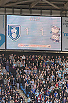 Coventry City 1 Birmingham City 1, 10/03/2012. Ricoh Arena, Championship. Home fans are dwarfed by the electronic scoreboard at the Ricoh Arena, as Coventry City host Birmingham City in an Npower Championship fixture. The match ended in a one-all draw, watched by a crowd of 22,240. The Championship was the division below the top level of English football. Photo by Colin McPherson.