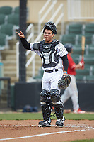 Kannapolis Intimidators catcher Carlos Perez (8) on defense against the Lakewood BlueClaws at Kannapolis Intimidators Stadium on April 8, 2018 in Kannapolis, North Carolina.  The Intimidators defeated the BlueClaws 4-3 in game two of a double-header.  (Brian Westerholt/Four Seam Images)