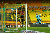 17th April 2021; Carrow Road, Norwich, Norfolk, England, English Football League Championship Football, Norwich versus Bournemouth; Tim Krul of Norwich City is unable to save the shot by Arnaut Danjuma of Bournemouth for 1-2 in the 57th minute