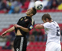 .Action photo of Samed Yesil (L) of Germany and Zachary Carroll (R) of USA, during game of the FIFA Under 17 World Cup game, held at Queretaro