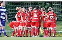 20160520 - TUBIZE , BELGIUM : Standard's players pictured celebrating their 0-1 lead during a soccer match between the women teams of RSC Anderlecht and Standard Femina de Liege , during the sixth and last matchday in the SUPERLEAGUE Playoff 1 , Friday 20 May 2016 . PHOTO SPORTPIX.BE / DAVID CATRY