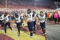 LOS ANGELES, CA - October 27, 2016: Cal Bears Football team vs. the USC Trojans at Los Angeles Memorial Coliseum. Final score, Cal Bears 24, USC Trojans 45.