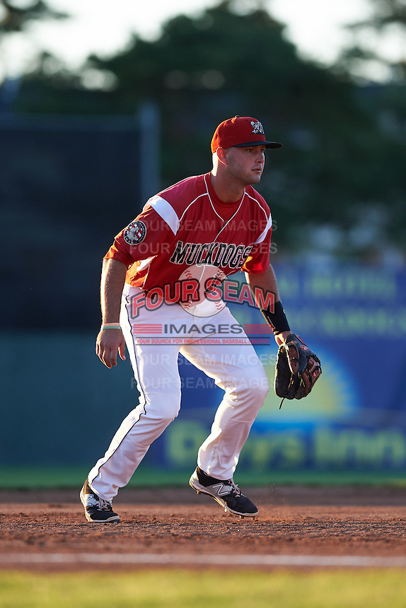 Batavia Muckdogs third baseman Ryan Cranmer (12) during a game against the Mahoning Valley Scrappers on June 23, 2015 at Dwyer Stadium in Batavia, New York.  Mahoning Valley defeated Batavia 11-2.  (Mike Janes/Four Seam Images)