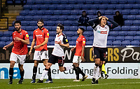 Bolton Wanderers' Antoni Sarcevic (right) rues a near miss <br /> <br /> Photographer Andrew Kearns/CameraSport<br /> <br /> The EFL Sky Bet League Two - Bolton Wanderers v Salford City - Friday 13th November 2020 - University of Bolton Stadium - Bolton<br /> <br /> World Copyright © 2020 CameraSport. All rights reserved. 43 Linden Ave. Countesthorpe. Leicester. England. LE8 5PG - Tel: +44 (0) 116 277 4147 - admin@camerasport.com - www.camerasport.com