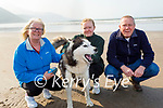 Skylar the dog taking Mary, Kelly and John Monty for a walk on Rossbeigh beach on Tuesday.