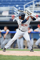 Connecticut Tigers outfielder Rashad Brown (11) at bat during the second game of a doubleheader against the Batavia Muckdogs on July 20, 2014 at Dwyer Stadium in Batavia, New York.  Connecticut defeated Batavia 2-0.  (Mike Janes/Four Seam Images)
