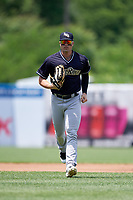 Scranton/Wilkes-Barre RailRiders left fielder Ryan McBroom (9) jogs back to the dugout during a game against the Syracuse Chiefs on June 17, 2018 at NBT Bank Stadium in Syracuse, New York.  Syracuse defeated Scranton/Wilkes-Barre 4-2.  (Mike Janes/Four Seam Images)