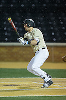 Keegan Maronpot (13) of the Wake Forest Demon Deacons follows through on his swing against the Davidson Wildcats at David F. Couch Ballpark on February 28, 2017 in Winston-Salem, North Carolina.  The Demon Deacons defeated the Wildcats 13-5.  (Brian Westerholt/Four Seam Images)