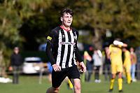 Blake Driehuis of the Waterside Karori scores a goal during the Central League Football - Waterside Karori v Western Suburbs at Karori Park 1, Wellington, New Zealand on Saturday 22 May 2021.<br /> Copyright photo: Masanori Udagawa /  www.photosport.nz