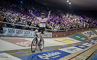 joyful victory lap for  Sir Bradley Wiggins (GBR/Wiggins) after winning the (overall) 2016 Gent 6 (with teammate Mark Cavendish)