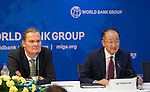 23 July 2014, New Delhi, India: President of the World Bank, Mr Jim Yong Kim addresses a press conference  flanked by Country Director Onno Ruhl (at left) and Serge Devieux, IFC Director, (at right) on issues and projects being undertaken by the World Bank during his visit to India and his discussions with Prime Minister Modi. Picture by Graham Crouch/World Bank