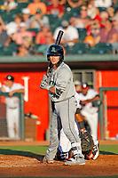 Dayton Dragons catcher Mark Kolozsvary (28) at bat during a game against the Lansing Lugnuts at Cooley Law School Stadium on August 10, 2018 in Lansing, Michigan. Lansing defeated Dayton 11-4.  (Robert Gurganus/Four Seam Images)