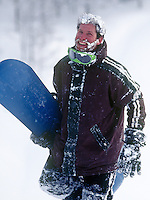 A happy snowboarder after a run