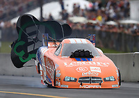 Sep 14, 2019; Mohnton, PA, USA; NHRA funny car driver Jim Campbell during qualifying for the Reading Nationals at Maple Grove Raceway. Mandatory Credit: Mark J. Rebilas-USA TODAY Sports