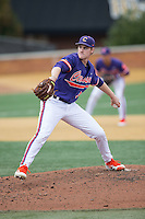 Clemson Tigers relief pitcher Pat Krall (36) in action against the Wake Forest Demon Deacons at David F. Couch Ballpark on March 12, 2016 in Winston-Salem, North Carolina.  The Tigers defeated the Demon Deacons 6-5.  (Brian Westerholt/Four Seam Images)
