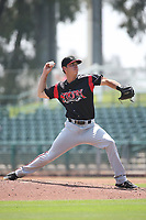 Elliot Ashbeck (30) of the Lake Elsinore Storm pitches against the Inland Empire 66ers at San Manuel Stadium on June 5, 2019 in San Bernardino, California. (Larry Goren/Four Seam Images)