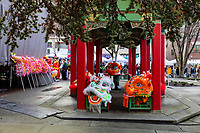 Lion Dance Heads, Chinese Lunar New Year, Hing Hay Park, Chinatown, Seattle, WA, USA.