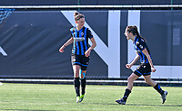 Charlotte Laridon (15) of Club Brugge pictured celebrating with teammate Febe Vanhaecke (3) of Club Brugge after scoring a goal during a female soccer game between Club Brugge Dames YLA and RSC Anderlecht on the fourth matchday in Play-Off 1 of the 2020 - 2021 season of Belgian Scooore Womens Super League , saturday 1st May 2021  in Brugge , Belgium . PHOTO SPORTPIX.BE | SPP | DAVID CATRY