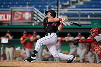 Batavia Muckdogs Peyton Burdick (7) bats during a NY-Penn League game against the Auburn Doubledays on June 19, 2019 at Dwyer Stadium in Batavia, New York.  Batavia defeated Auburn 5-4 in eleven innings in the completion of a game originally started on June 15th that was postponed due to inclement weather.  (Mike Janes/Four Seam Images)