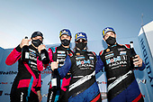 #86 Meyer Shank Racing w/Curb-Agajanian Acura NSX GT3, GTD: Mario Farnbacher, Matt McMurry, #57 Heinricher Racing w/MSR Curb-Agajanian Acura NSX GT3, GTD: Alvaro Parente, Misha Goikhberg, podium, , champagne