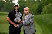 6th June 2021; Dublin, Ohio, USA;Patrick Cantlay (USA) holds the trophy with Jack Nicklaus after winning the sudden death playoff of the Memorial Tournament at Muirfield Village Golf Club in Dublin, Ohio