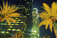 Upward view of high rise buildings and palm trees at night. Los Angeles, California.