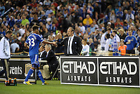 Ruben Loftus-Creek (33) Chelsea shakes hands with the head coach Rafa Benitez as he leaves the field..Manchester City defeated Chelsea 4-3 in an international friendly at Busch Stadium, St Louis, Missouri.