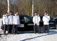 06-02-12, Netherlands,Tennis, Den Bosch, Daviscup Netherlands-Finland, Team with official Honda cars.
