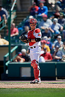 Rochester Red Wings catcher Mitch Garver (47) during a game against the Scranton/Wilkes-Barre RailRiders on June 7, 2017 at Frontier Field in Rochester, New York.  Scranton defeated Rochester 5-1.  (Mike Janes/Four Seam Images)