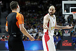 Olympiacos Piraeus' Vassilis Spanoulis have words with the referee during Euroleague Semifinal match. May 15,2015. (ALTERPHOTOS/Acero)