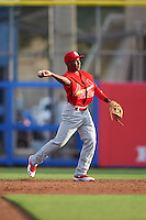 Palm Beach Cardinals second baseman Darren Seferina (8) during a game against the Dunedin Blue Jays on April 15, 2016 at Florida Auto Exchange Stadium in Dunedin, Florida.  Dunedin defeated Palm Beach 8-7.  (Mike Janes/Four Seam Images)