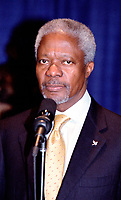 OTTAWA , November 17th 2001 FILE PHOTO<br /> <br />  UN General secretary Kofi Annan (R) adress the media after a private meeting  , held at the Ministry of Foreign Affairs and International Trade Building, outside the G-20 perimeter , on the 2nd day of the G-20 summit in Ottawa, CANADA, November 17th, 2001<br /> <br /> Annan is the UN secretary-general since 199), born in Kumasi, Ghana. He studied in the USA and Switzerland, joining the UN in 1962, and held posts in the High Commission for Refugees and the World Health Organization. After joining the UN secretariat, he became (1993) under-secretary -general for peacekeeping operations. He replaced Boutros Boutros-Ghali to become the first secretary-general from sub-Saharan Africa.   <br /> <br /> <br /> B