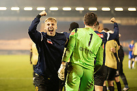 Marine celebrate knocking out league opponents following a penalty shoot out during Colchester United vs Marine, Emirates FA Cup Football at the JobServe Community Stadium on 7th November 2020
