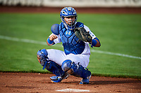 Gersel Pitre (45) of the Ogden Raptors warms up the starting pitcher before the game against the Great Falls Voyagers at Lindquist Field on September 14, 2017 in Ogden, Utah. The Raptors defeated the Voyagers 7-4 in Game One of the Pioneer League Championship. (Stephen Smith/Four Seam Images)