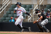 Mitch Roman (10) of the Kannapolis Intimidators follows through on his swing against the West Virginia Power at Kannapolis Intimidators Stadium on June 18, 2017 in Kannapolis, North Carolina.  The Intimidators defeated the Power 5-3 to win the South Atlantic League Northern Division first half title.  It is the first trip to the playoffs for the Intimidators since 2009.  (Brian Westerholt/Four Seam Images)