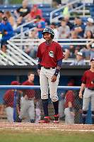 Mahoning Valley Scrappers left fielder Oscar Gonzalez (39) at bat during a game against the Batavia Muckdogs on August 18, 2017 at Dwyer Stadium in Batavia, New York.  Mahoning Valley defeated Batavia 8-2.  (Mike Janes/Four Seam Images)