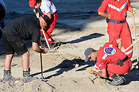 """FAO JANET TOMLINSON, DAILY MAIL <br /> Pictured: Special forensics police officers search a field in Kos, Greece. Friday 30 September 2016<br /> Re: Police teams searching for missing toddler Ben Needham on the Greek island of Kos have said they are """"optimistic"""" about new excavation work.<br /> Ben, from Sheffield, was 21 months old when he disappeared on 24 July 1991 during a family holiday.<br /> Digging has begun at a new site after a fresh line of inquiry suggested he could have been crushed by a digger.<br /> South Yorkshire Police (SYP) said it continued to keep an """"open mind"""" about what happened to Ben."""