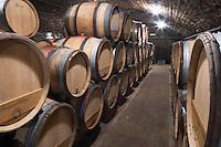 Oak barrel aging and fermentation cellar. Domaine Bertagna, Vougeot, Cote de Nuits, d'Or, Burgundy, France