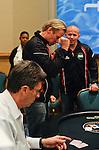 Team Findland member Tommi Juhani Saarinen pumps is fist after winning his heads up match.