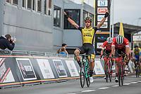 race winner Dylan Groenewegen (NED/Lotto NL - Jumbo). He beats teammates John Degenkolb and Jasper Stuyven. <br /> <br /> 103th Kampioenschap van Vlaanderen 2018 (UCI 1.1)<br /> Koolskamp – Koolskamp (186km)