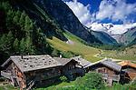 Austria, East-Tyrol, near Matrei, Aussergschloess: alpine pasture huts and Grossvenediger mountain   Oesterreich, Ost-Tirol, bei Matrei, Aussergschloess: Almhuetten vorm Grossvenediger
