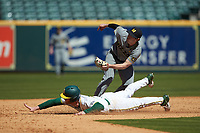 Mark Vierling (9) of the Missouri Tigers follows through on a tag as Ryan Bertelsman (3) of the Baylor Bears tries to steal second base in game one of the 2020 Shriners Hospitals for Children College Classic at Minute Maid Park on February 28, 2020 in Houston, Texas. The Bears defeated the Tigers 4-2. (Brian Westerholt/Four Seam Images)