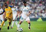 Isco Alarcon (r) of Real Madrid battles for the ball with Vinicius de Oliveira Franco of APOEL FC during the UEFA Champions League 2017-18 match between Real Madrid and APOEL FC at Estadio Santiago Bernabeu on 13 September 2017 in Madrid, Spain. Photo by Diego Gonzalez / Power Sport Images