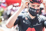 Thomas Pidcock (GBR) Ineos Grenadiers at sign on before the start of Stage 2 of La Vuelta d'Espana 2021, running 166.7km from Caleruega. VIII Centenario de Santo Domingo de Guzmán to Burgos. Gamonal, Spain. 15th August 2021.    <br /> Picture: Unipublic/Charly Lopez   Cyclefile<br /> <br /> All photos usage must carry mandatory copyright credit (© Cyclefile   Unipublic/Charly Lopez)