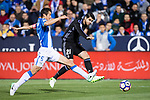 Alvaro Morata (r) of Real Madrid fights for the ball with Martin Mantovani of Deportivo Leganes during their La Liga match between Deportivo Leganes and Real Madrid at the Estadio Municipal Butarque on 05 April 2017 in Madrid, Spain. Photo by Diego Gonzalez Souto / Power Sport Images